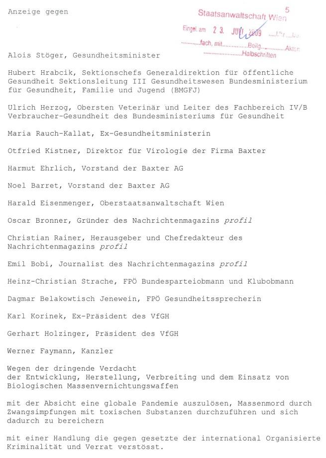 Jane bürgermeister Anklage Schrift