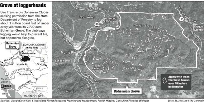 Lageplan vom Bohemian Grove
